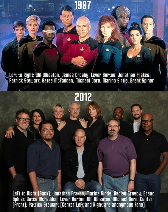 """Don't judge me because I pinned this…it's a result of my inner geek! """"Star Trek: The Next Generation"""" 1987 vs. 2012"""