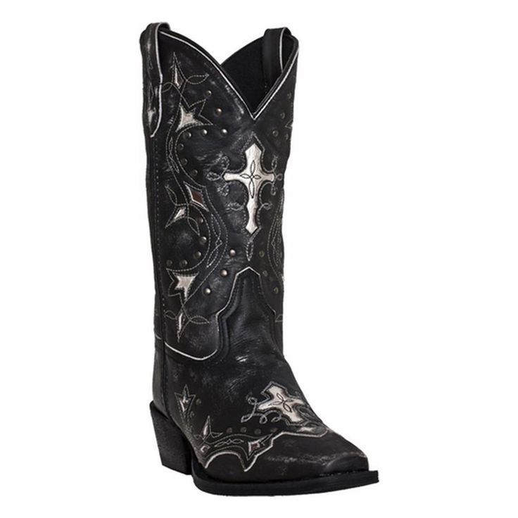 Laredo Women's Black and Grey Silver Cross Western Boots, 52030