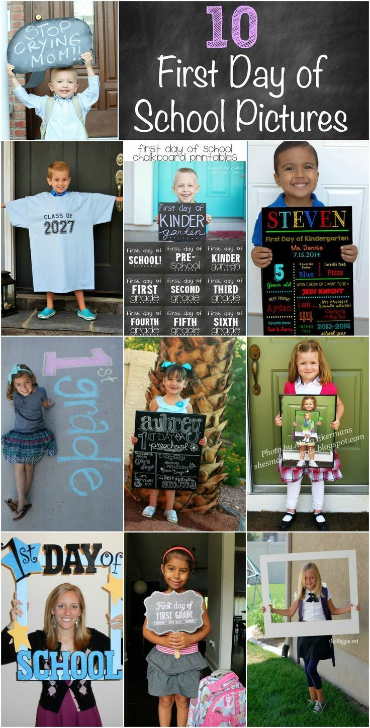 Great first day of school picture ideas! A collection of photography ideas and printables!
