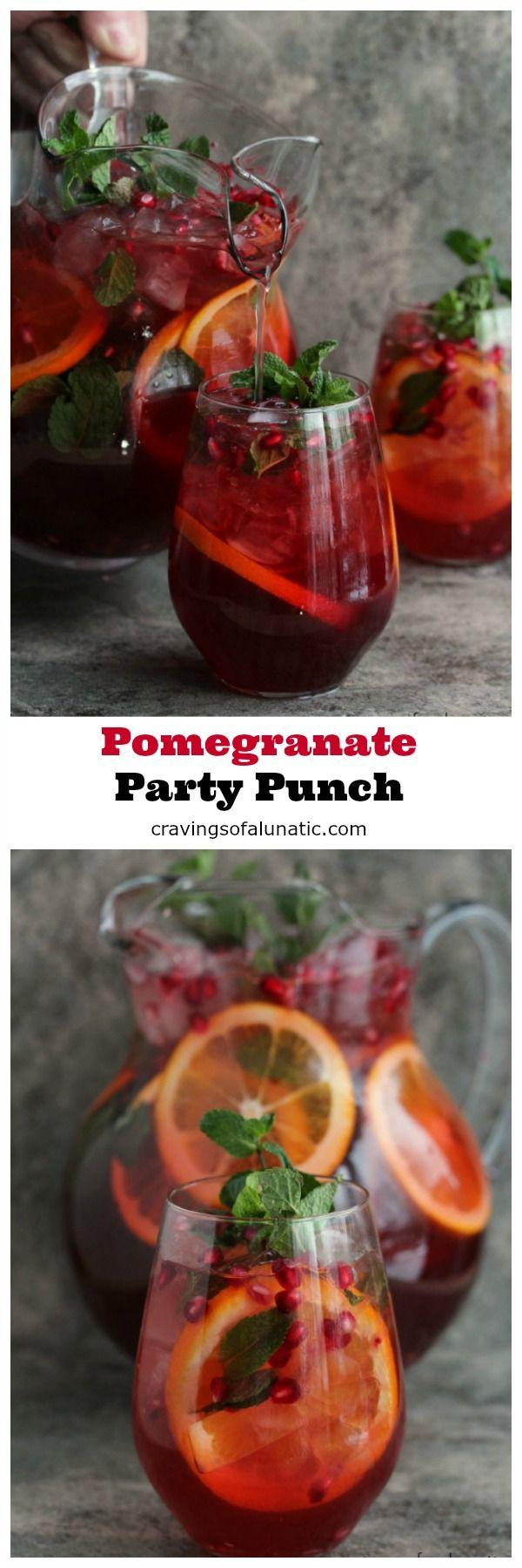 This Pomegranate Party Punch is both delicious and versatile. You can make this Spiked or Unspiked. Perfect for parties, have one of each! #punch #drink #holidays