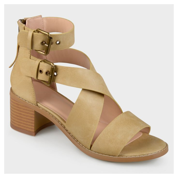 Women's Journee Collection Double Ankle Strap Stacked Wood Heel Sandals - Taupe (Brown) 6, Size: 6.5