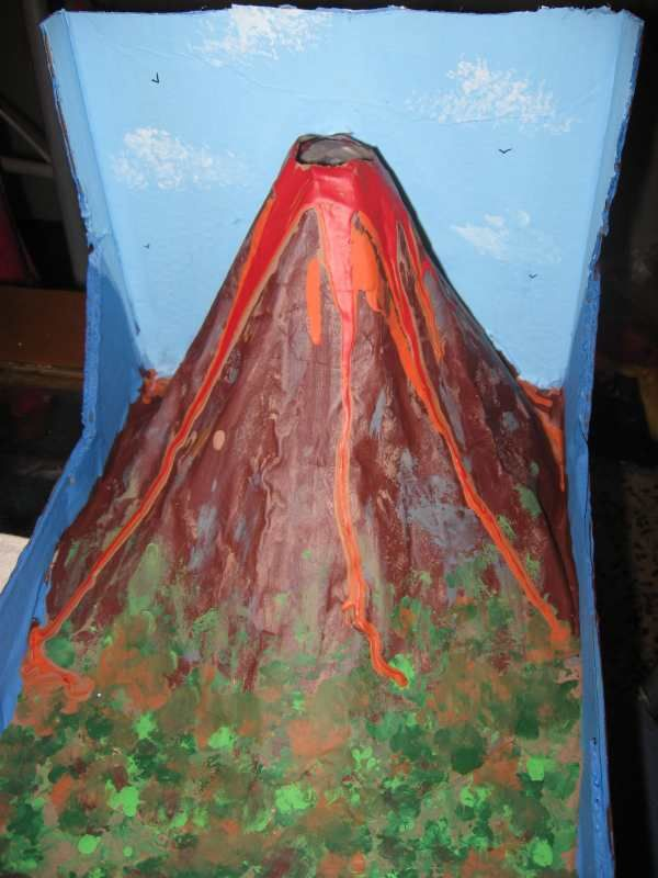 Homemade Exploding Volcano Model. Uses a removable plastic bottle, and has a cross-section diagram on the back!