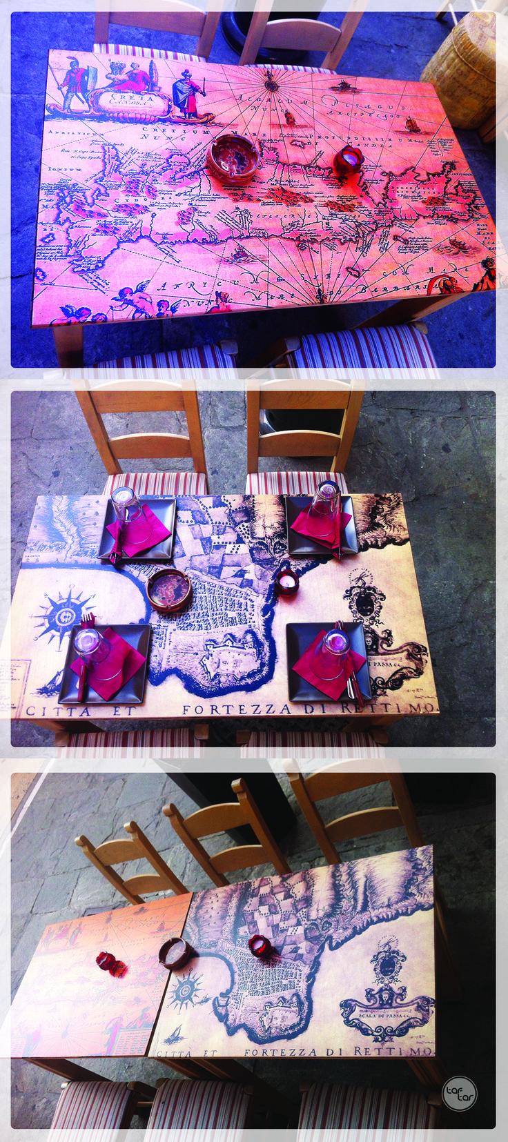 / UV printed Rethimno maps on wooden tables. //  / Εκτύπωση UV σε ξύλινα τραπέζια. //