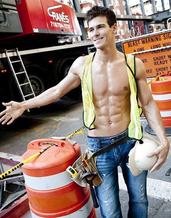 Hot Construction Worker Muscle Jock With 6 Pack Abs