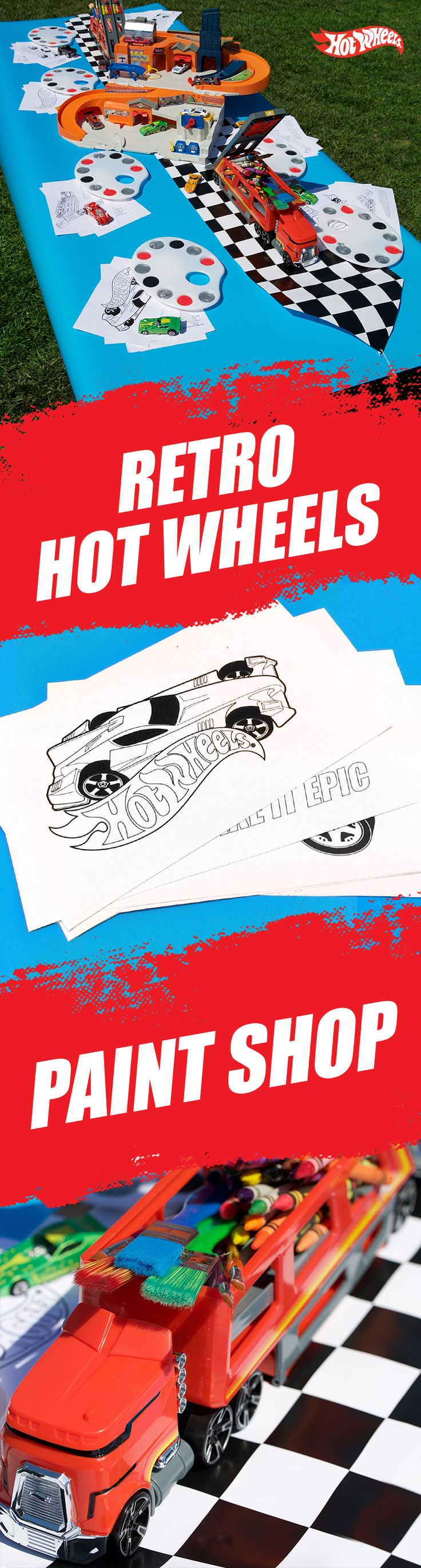 This epic DIY Hot Wheels activity table gives kids the green light to paint and color retro Hot Wheels printable coloring pages with their own unique style. Place art supplies in the Hot Wheels Car-Go Hauler and set up the Hot Wheels Sto and Go for extra inspiration. Find out what you'll need and download the activity pages here for your Hot Wheels house party.