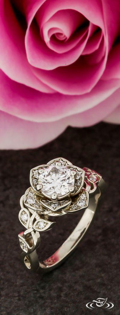 Diamond Pavé Rose Engagement Ring with Twisting Diamond Vine Shoulders. Green Lake Jewelry 118999