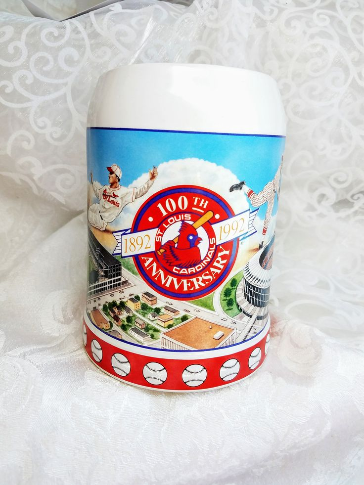 Vintage 100th Anniversary Saint Louis Cardinals Mug, 1992 St. Louis Cardinals Collector Cup 1892-1992  Baseball Lovers Gift, Anheuser Busch by HuldasTreasures on Etsy