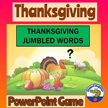 Thanksgiving Jumbled Words PowerPoint Game. Thanksgiving Day Fun! A Thanksgiving Interactive word scramble game. Words related to Thanksgiving Day. No prep, no print...project on your board as a fun Thanksgiving activity. Words will appear in scrambled form for
