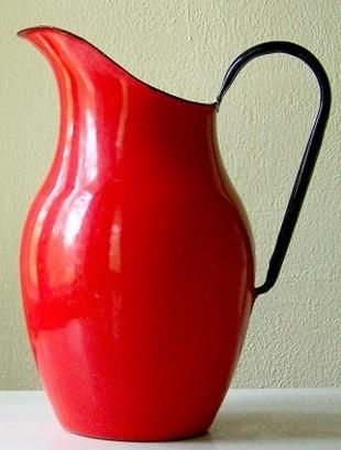 Vintage red enamelware pitcher...