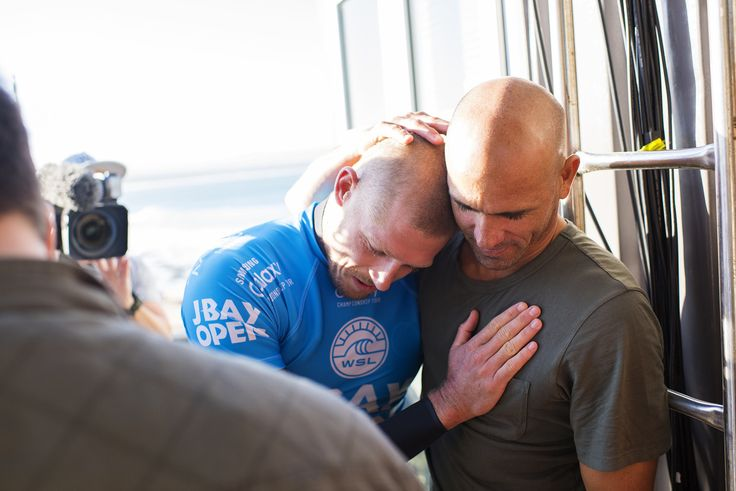 Mick Fanning and Kelly Slater after Mick's encounter with a shark during the final heat at the #JBayOpen. We are thankful for the Water Safety Team and  for everyones support.