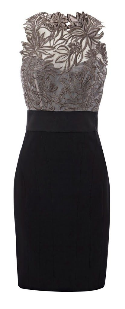 Grey floral embroidered black dress fashion – Her Fashion Likes