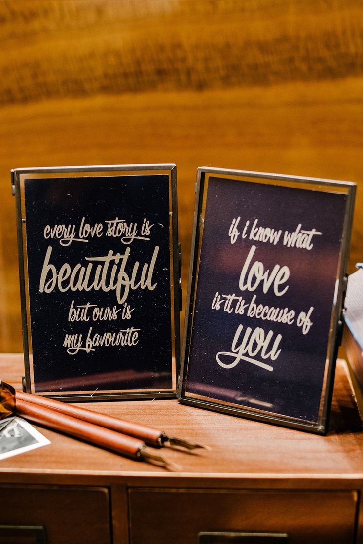 Framed love quotes for wedding reception // French Flair: Josh and Vivian's Parisian-Themed Wedding at Grand Hyatt