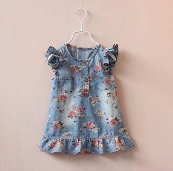 Vestidos da menina 2015 verão bonito Jean para meninas flor imprimir vestido denim kids clothing infantil em Vestidos de Mamãe e Bebê no AliExpress.com | Alibaba Group: