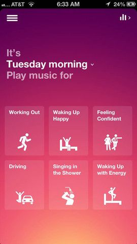Songza app comes up with playlists based on your activity, goal, or feeling.