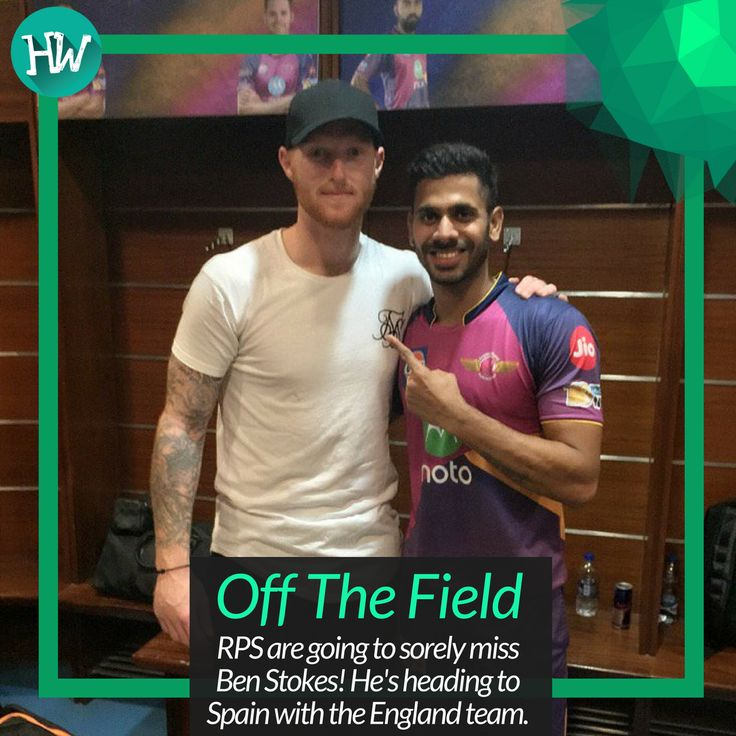 #OffTheField Ben Stokes has been phenomenal in his first #IPL and it'll be a bummer he won't be there in the Playoffs! #RPS #ThankYouStokes #cricket
