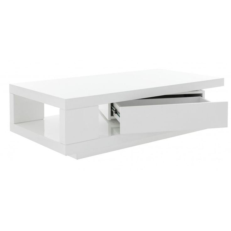 Savanah table basse 1 tiroir l120 cm blanc brillant fly design ideas livi - Table basse relevable blanc ...