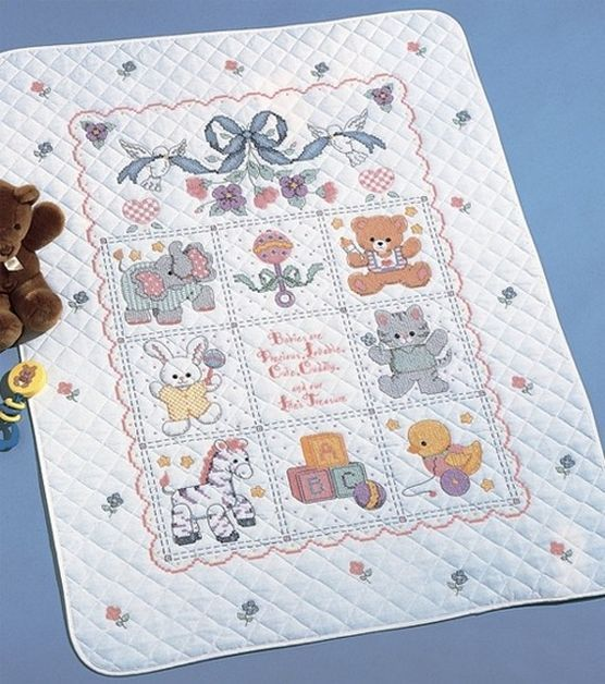 Bucilla Crib Cover Stamped Cross Stitch Kit-Babies
