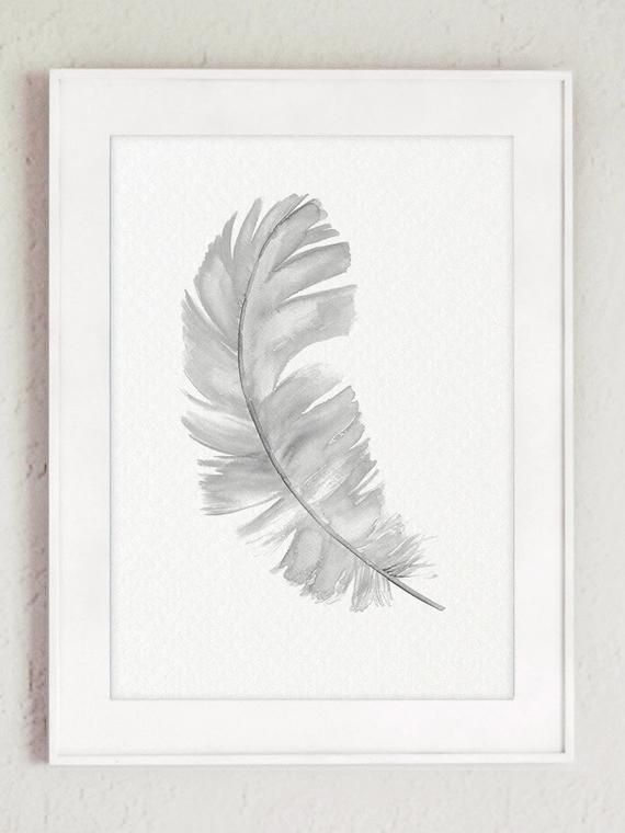 Grey feather art prints Sketched wall decor posters