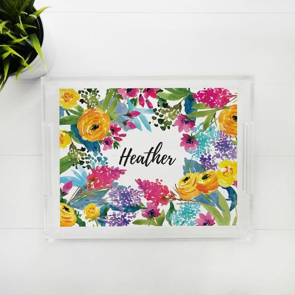 Lucite Tray - Wild Flowers, Personalized