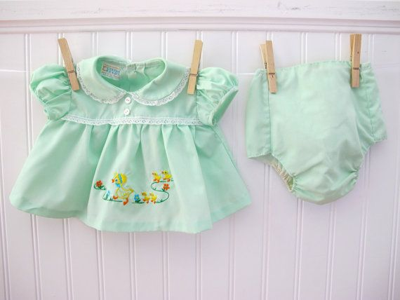 Vintage baby dress with embroidered ducks, 1960's - 1970's.