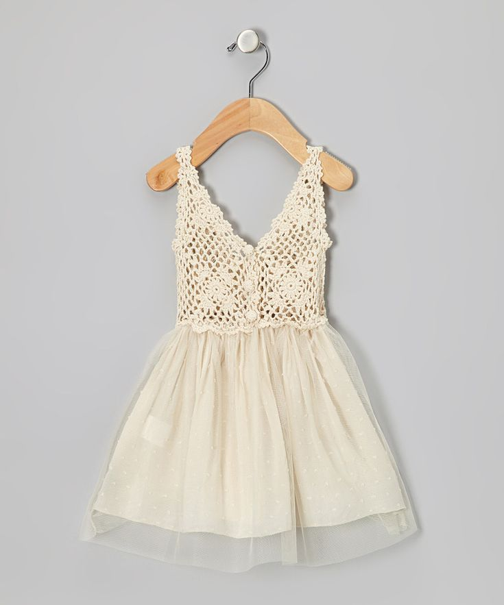 Look what I found on #zulily! Cream Tulle Crocheted Dress - Toddler by Sweet Chics Couture #zulilyfinds