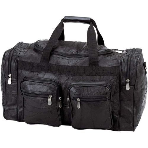 Black 21 Genuine Leather Duffle Bag Mens Overnight Carry On Travel Luggage Gym