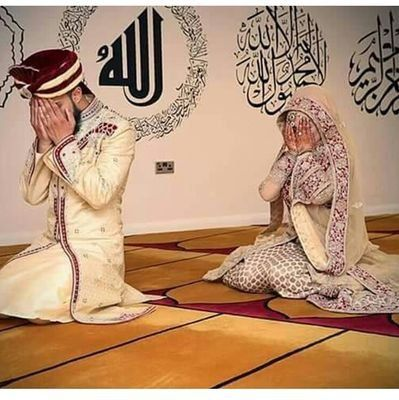 Muslim couple ... just before wedding night ... Praying for the blessing of Allah