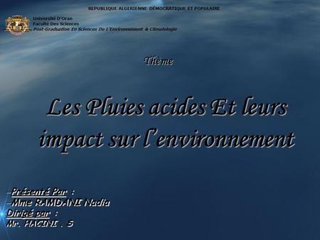 Les Pluies acides Et leurs impact sur l'environnement