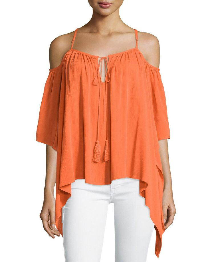 On the Road Cam Cold-Shoulder Blouse, Fire Red