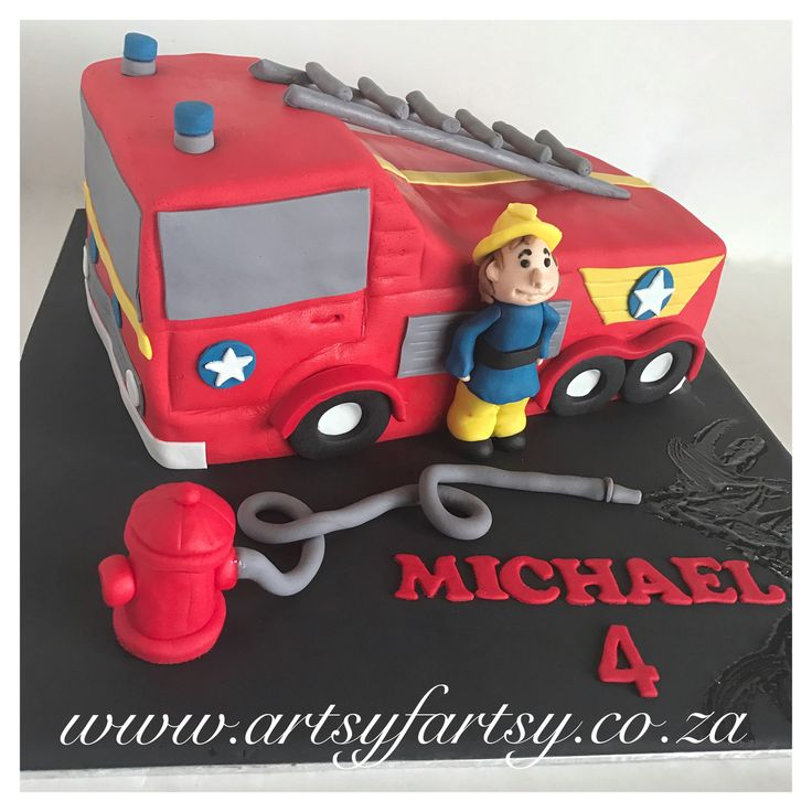 Fire Engine Cake #fireenginecake