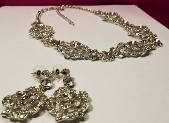 Crystal Bridal Set  Wedding Set  Crystal Necklace and by BYTWINS, €45.00