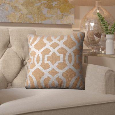 House of Hampton Barrault Geometric Jute Throw Pillow Color: Tan