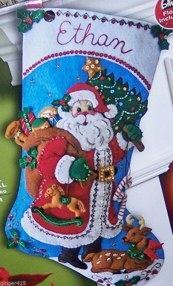 "Bucilla NEW RELEASE ""TRADITIONAL SANTA"" Felt Christmas Stocking Kit Tree, Gifts"