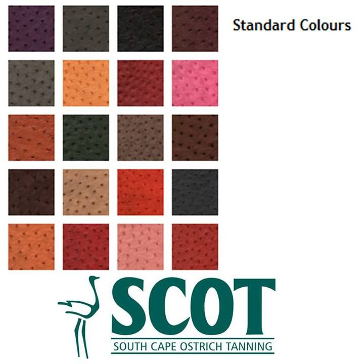 SCOT offers more than 400 colours and with expert help from associates in the fashion capitals of the world. SCOT ensures that its customers have access to the trendiest seasonal colours. Below are SCOT's 18 standard colours. #ostrich #ostrichleather