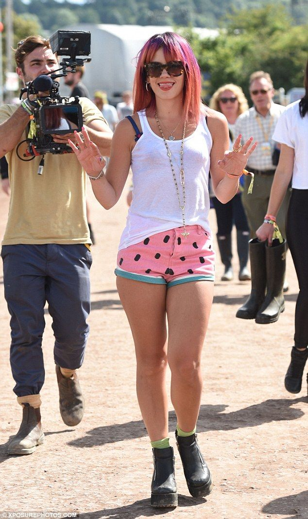 She's been drinking: The singer put her toned legs on full display in colourful watermelon...