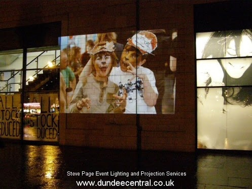 Outdoor Projections for Dundee's Christmas Light Night - with thanks to DCA for the images. Projection installation by Steve Page: www.dundeecentral.co.uk