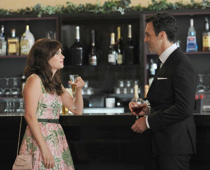"""Pin for Later: Here's What's in Store for New Girl's Season Premiere  Jess (Zooey Deschanel) meets a handsome best man (Reid Scott) in New Girl episode """"The Last Wedding."""""""
