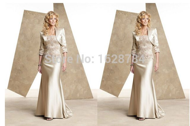 Champagne Satin 2015 Floor Length Golden mother Plus Size For Wedding Mother of the Bride Groom Lace Dresses With Jacket US $79.00  Click link to buy other product http://goo.gl/p8JMyk