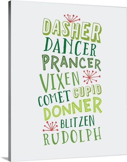 """The names of Santa's reindeer listed out vertically in shades of green with pops of red - """"Reindeer Names - Green"""" wall art by Inner Circle from Great BIG Canvas"""