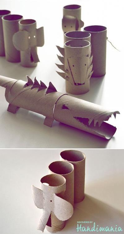 Animales de la selva hechos con rollos de papel.