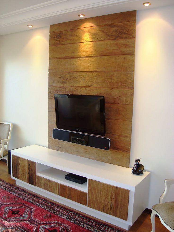 painel para tv 9 Painel de madeira rustica para TV digital