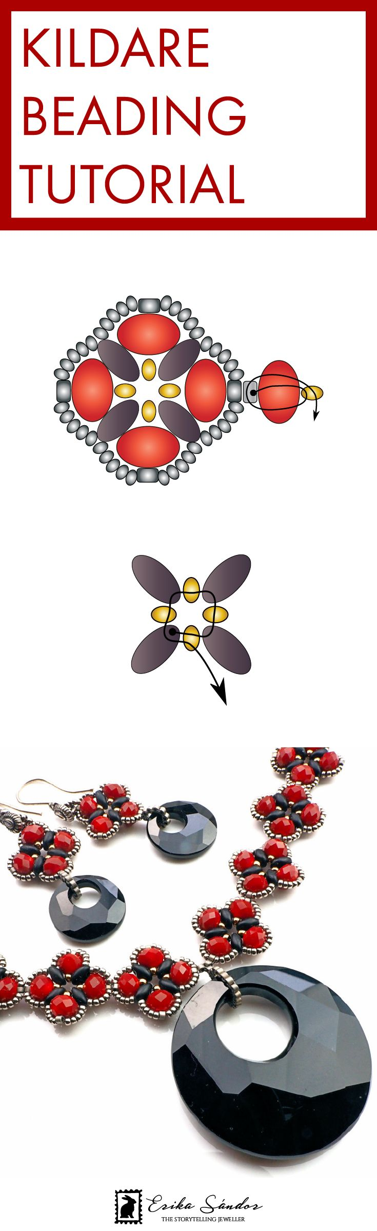 Beading tutorial / pattern / schema / instructions for beginner level beaders. Donut beads from glass, Superduo or Twin beads, Miyuki or Toho Japanese seed beads. Black and red necklace and earrings. With Swarovski Elements pendant bead. Design by Erika Sandor The Storytelling Jeweller. Beadsmith Inspiration Squad.