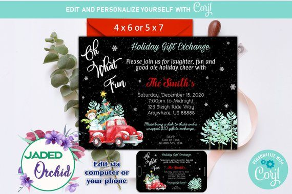 Christmas Truck Oh What Fun Holiday Party Invitation Template You