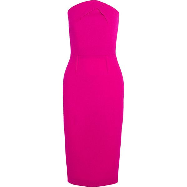 Roland Mouret Electra strapless wool-crepe dress (17,250 GTQ) ❤ liked on Polyvore featuring dresses, pink, roland mouret, pink crepe dress, zipper dress, fuchsia pink dress and fuschia pink dress