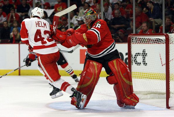 Cristobal Huet and Darren Helm Photos: Detroit Red Wings v Chicago Blackhawks, Game Four