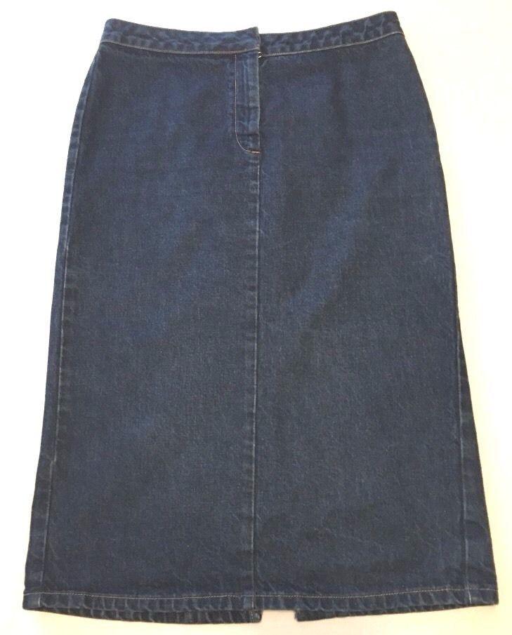 United Colors Of Benneton Women's Long Denim Maxi Skirt Modest Euro Size 44 #Benetton #StraightPencil