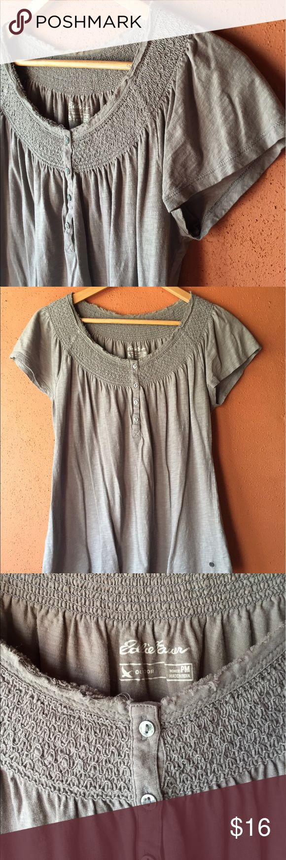 Eddie Bauer petite tee Sweet little tee in petite size medium from Eddie Bauer.  100% cotton, gray.  Super soft, please note that the style is intentionally distressed.  Very good used condition from my smoke free, pet free home! Eddie Bauer Tops