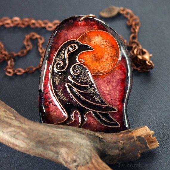 Purple pendant Ravens totem, night bird, night raven, twilight jewelry