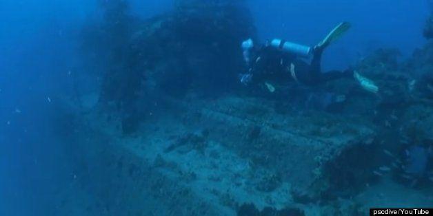 珊瑚礁の海底に眠る駆逐艦「文月」 トラック諸島で撮られた幻想的な動画