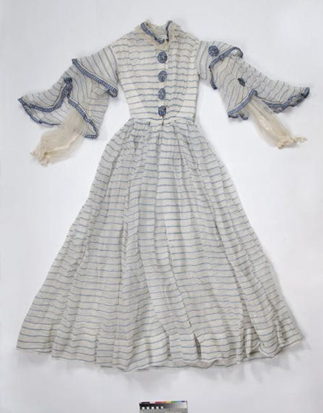Day Dress, circa 1860s, striped textile, great sleeves, via University of Brighton.